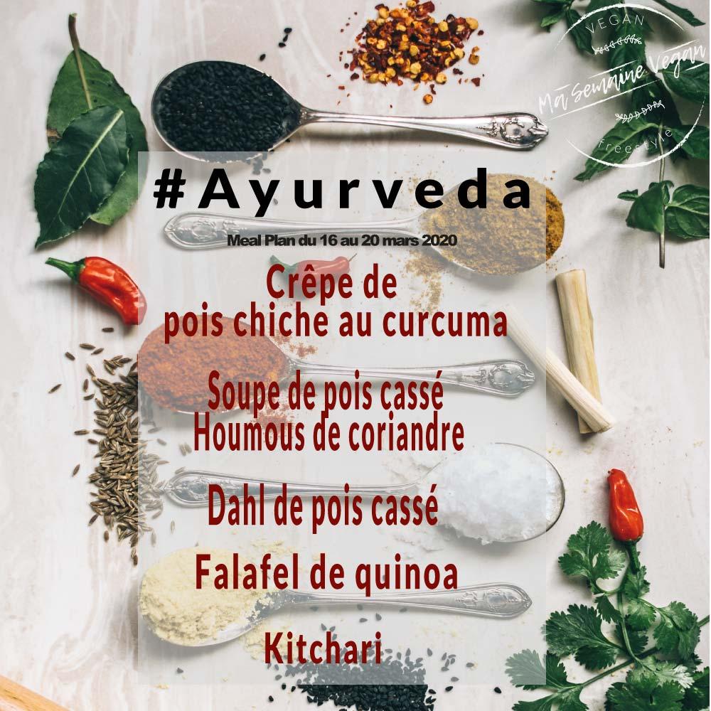 menu ayurveda